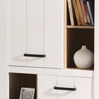 Forte Elara Highboard ERXS413 für Ihr Wohnzimmer oder Esszimmer Schrank mit Türen und offenen Fächern mit Korpus und Front in Weiß matt Dekor und Absetzungen in Bianco Eiche Nachbildung - Vorschau 4