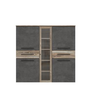 Forte Mindi Highboardvitrine IDNV433 für Ihr Wohnzimmer oder Esszimmer Anrichte mit vier Türen Glastür und zwei Schubkästen Korpus und Front Picea Kiefer Nachbildung Absetzung Betonoptik dunkelgrau
