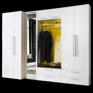 Wittenbreder Come In Garderobenkombination Nr. 13 komplette Garderobe für Ihren Flur und Eingangsbereich 7-teilige Vorschlagskombination in Weiß Lack und Gelb Lack Hochglanz mit Standardgriff matt Metallteile in matt
