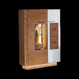 Schröder Kitzalm Solid Standelement 4325-SN in furnierter Kernasteiche natur gebürstet bestehend aus zwei Türen einem Glasboden und fünf Holzböden ideal für Ihr Esszimmer oder Wohnzimmer