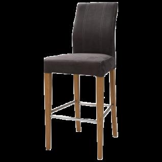 Standard Furniture Tresenstuhl Taki Gestell aus Massivholz mit Edelstahl Verstrebung Holzausführung sowie Bezug wählbar