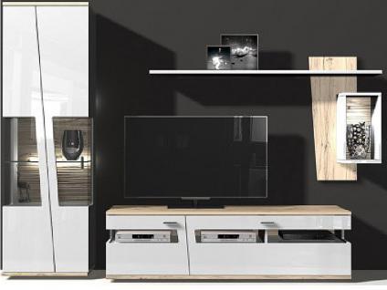 IDEAL-Möbel Ariana Kombination 11 Wohnwand 3-teilig bestehend aus Vitrine, Unterteil, Paneel mit Fach Korpus Weiß Melamin Front Folie weiß Rückwand 3D-Optik wahlweise mit Akzent in Beton-Optik Beleuchtung optional