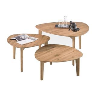 MCA Furniture Couchtisch Camilla 58441AE9 aus Asteiche Massivholz geölt 3er-Set für Ihr Wohnzimmer