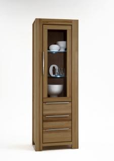 Elfo-Möbel Nena Vitrine 2761 in Wildeiche Massivholz geölt Glasschrank mit 1 Tür mit Glaseinsatz und 3 Schubkästen stilvoller Stauraum für Wohnzimmer oder Esszimmer