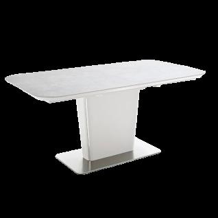 MCA furniture Esstisch Koami weiß Säulentisch ausziehbar ca 160/ 210 cm Tischplatte in Keramik Optik Gestell MDF weiß matt lackiert