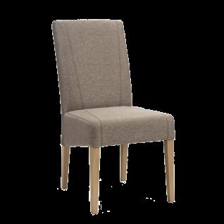 Standard Furnitre Stuhl Leon mit Kontrastnähten Bezug Loco atmosphere Webstoffoptik Gestell aus Massivholz Eiche bianco