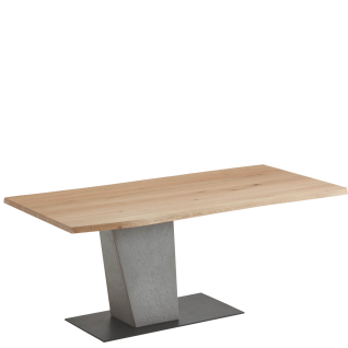 Hartmann Brik Esstisch mit Tischplatte in Massivholz gebürstet Säule aus Beton und Bodenplatte in Metall anthrazit Ausführung wählbar
