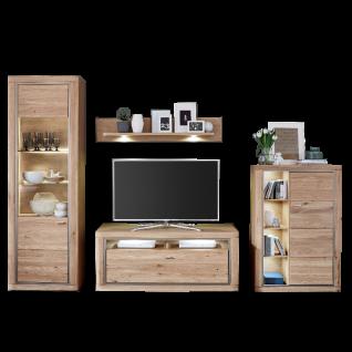 IDEAL-Möbel Kentra 09 vierteilige teilmmassive Wohnwand in Alteiche für Wohnzimmer mit wählbarer Beleuchtung