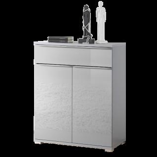 Staud Möbel Rubin Türenkommode mit 1 Schubkasten und 2 Türen Korpus in Dekor Front vollverglast Farbe wählbar Griffleisten und Füße chromfarbig - Vorschau 4