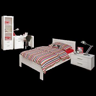 Forte Snow Jugendzimmer 4-teilig mit Bett Liegefläche ca. 90x200cm Nachtkommode Regal und Schreibtisch Jugendzimmer-Set in Weiß matt mit Rillenfräsung