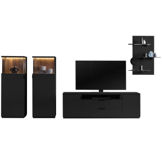 Quadrato Modena Wohnkombination 401111 4-teilige Wohnwand in Lack schwarzgrau mit Altholz-Rückwänden zwei Vitrinen Lowboard und Wandboard