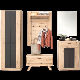 MCA furniture Garderobe Calais 5-teilig Art.Nr. CAL1QK01 Front und Korpus Balkeneiche Nachbildung Absetzung cosmos grey Melamin Sitzkissen optional