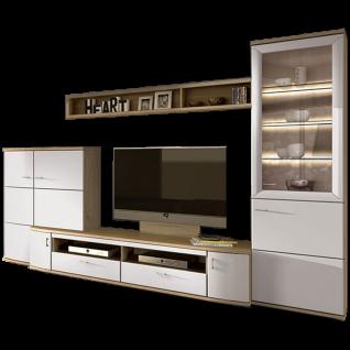 Stralsunder Just Wohnkombination EB28501 vierteilige Wohnwand mit Highboard Aufsatzhighboard TV-Unterteil und Vitrine für Wohnzimmer Dekorausführung Wandboard und Beleuchtung wählbar