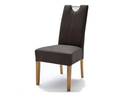 MCA Direkt Stuhl Enya Bezug Strukturoptik braun 2er Set Polsterstuhl für Wohnzimmer und Esszimmer Ausführung 4 Fuß Massivholzgestell und Chromgriff