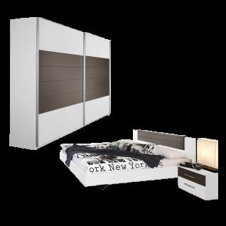Rauch Packs Barcelona Schlafzimmer4- teilig bestehend aus Bettanlage mit 2 Nachttischen und Schwebetürenschrank 2- türig Farbausführung alpinweiß Absetzungen lavagrau Liegefläche wählbar optional mit Schubkommode und Roillbettkasten