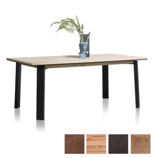 Habufa Moreni Esstisch ausziehbar mit furnierter Tischplatte und Vierfußgestell aus Metall schwarz Holzfarbe und Tischgröße wählbar