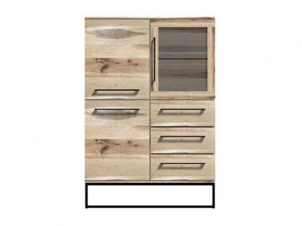 Niehoff Time sehenswertes Highboard 2444 in Balkeneiche natur Massivholz geölt mit drei Schubkästen und drei Türen Beleuchtung wählbar ideal für Ihr Wohnzimmer