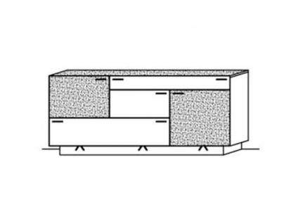 Schröder Kitzalm-Montana Sideboard 3728-SN Kommode in Kernasteiche natur gebürstet furniert mit Satinglas-Akzenten in Snow für Wohnzimmer oder Esszimmer mit 2 Schubkästen 3 Türen - Vorschau 2