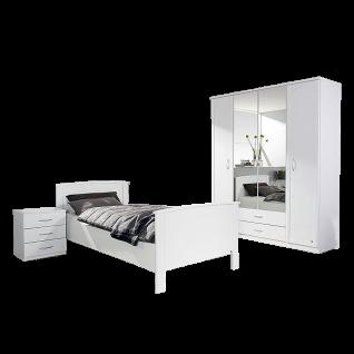 Rauch Packs Torrent Schlafzimmer 3- teilig betsehend aus Komfortbett Nachttisch mit 3 Schubkästen und Drehtürenschrank Liegefläche und Schrankbreite wählbar optional mit Bettkasten
