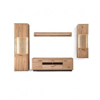 MCA furniture Wohnkombination 2 Salvador Front in Balkeneiche Bianco Massivholz Korpus außen Eiche Bianco furniert geölt Art.Nr. SAD52W02