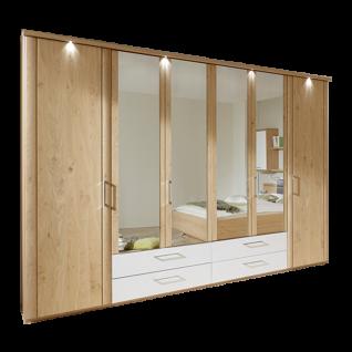 Disselkamp Comfort Twin Drehtürenschrank 60er Außentüren mit Profil Mitteltüren schlicht mit Spiegel 4 Schubkästen