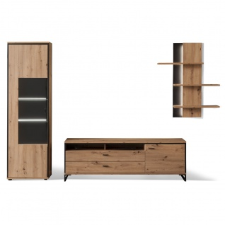 MCA furniture Wohnwand 1 Buenos Aires Art.Nr. BUA1QW01 Front Balkeneiche tiefzieh NB Korpus Balkeneiche Melamin NB Korpusabsetzung Metall anthrazit
