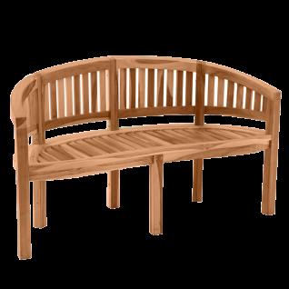 Möbilia Gartenmöbel Gartenbank in Bananenform 3-Sitzer aus Teakholz Sitzbank ca. 150 cm breit für Garten und Terrasse