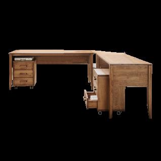 Skalik Meble Mido Arbeitszimmer 2 Schreibtische inklusive Eckverbindung mit 2 Rollcontainer Front und Korpus Eiche Massivholz Tabak geölt