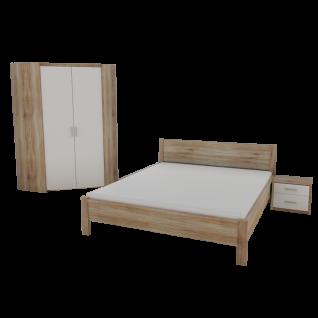 Priess Luna Schlafzimmer 3-teilig bestehend aus Eckkleiderschrank 2-türig Futonbett und Nachtkommode Korpus in San Remo Eiche und Front in Lichtweiß optional mit Beimöbeln