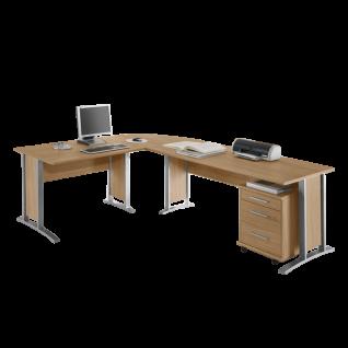 Bega Consult Office Line Winkel-Schreibtischkombination in Eiche Sonoma Dekor - inklusive Rollcontainer mit 3 Schubkästen