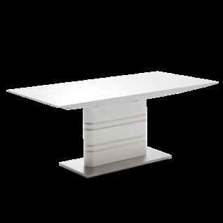 MCA Furniture Säulentisch Modus mit Klappeinlage in Hochglanz weiß lackiert mit Edelstahlapplikationen und Bodenplatte aus Edelstahl