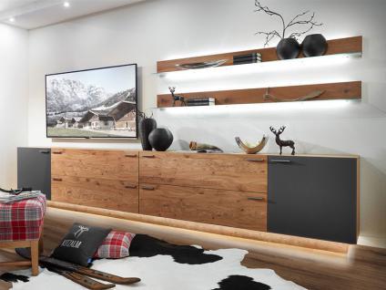 Schröder Kitzalm-Montana Kombination K006 furnierte Wohnkombination Wohnwand mit Glas-Akzent für Wohnzimmer mit zwei TV-Unterteilen und zwei Wandborden Holzausführung und Beleuchtung wählbar