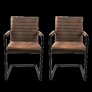 Sit Möbel SIT&CHAIRS Armlehnstuhl im 2er-Set Bezug braun Kunstleder Gestell Stahl