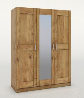 ELFO Kleiderschrank TONI 3S Wildeiche teilmassiv, 3türiger Schrank, Mitteltür mit Spiegel, Schlafzimmerschrank mit 3 Einlegeböden, 1 Hutboden, 1 Kleiderstange, Zubehör optional, durchgehende Lamelle an der Front, viel Stauraum für Ihr Schlafzimmer