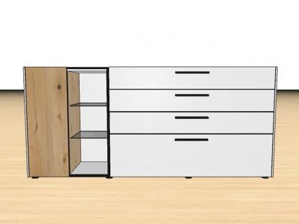 Gwinner Blogg UKB5-414T oder UKB5-144T Sideboard ohne Gestell eintürig mit 4 Schubkästen Lack-matt- und Akzentausführung wählbar