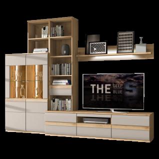 Stralsunder Binz 8-teilige Wohnwand bestehend aus einem Highboard einem Aufsatzregal einem Wandboard und einem Lowboard Ausführung Korpus Naturbuche mit Fronten in Grau matt optional mit geschroppten Rückwänden und passender Beleuchtung für Ihr Wohnzimmer