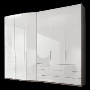 Wiemann Cayenne V.i.P. Drehtürenschrank 6-türig mit Tiefenversatz und 3 Schubkästen Korpus in Havanna Dekor und Front Glas Weiß in Breite ca. 283 cm