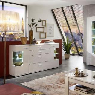 Wohn-Concept Alibaba Sideboard 40 88 WW 21 moderne Anrichte für Ihr Wohnzimmer oder Esszimmer mit zwei Türen mit Glasausschnitten und vier Schubkästen Kommode in Weiß Hochglanz und Weiß matt mit Absetzungen in Terra Grau Hochglanz MDF mit Diamant-Effekt B - Vorschau 2