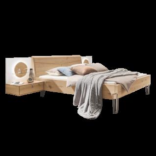 Thielemeyer Meta Komfort-Liegenbett mit Holzkopfteil Liegefläche ca. 180 x 200 cm inklusive 2 Hängekonsolen und 2 Aufsatzpaneele mit Hirnholzscheibe Ausführung Wildeiche oder Wildesche optional mit LED-Aufsatzpaneel-Beleuchtung