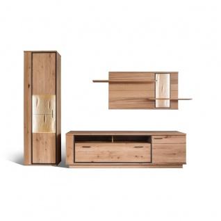 MCA furniture Wohnwand Campinas Art.Nr. CAP17W01 Front Asteiche Bianco Massivholz mit durchgehenden Lamellen Korpus Asteiche Bianco funiert geölt