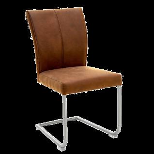 Niehoff Schwingstuhl 1901 Bezug Aberdeen Maron braun Gestell aus Edelstahl Stuhl für Esszimmer und Küche