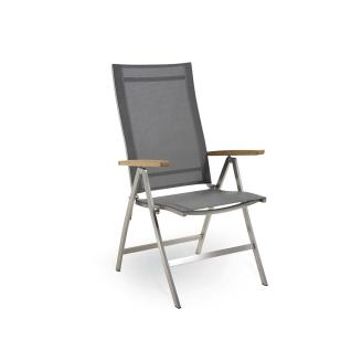 Niehoff Garden Milford Klappsessel G172 für Ihren Garten oder Ihre Terrasse Armlehnenstuhl mit Gestell in Edelstahl gebürstet und Bezug in Batyline Farbe wählbar Stuhl mit Armlehnauflagen in Teak Massivholz geölt