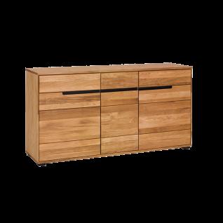 Elfo-Möbel Lola Sideboard 3996 in Eiche teilmassiv geölt mit drei Holztüren und drei Schubkästen für Ihr Wohnzimmer oder Esszimmer