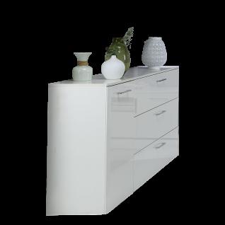 Forte Babila Sideboard BBLK121 für Ihr Wohnzimmer oder Esszimmer Komode mit Tür und Schubkästen Dekor Korpus Weiß matt kombiniert mit Weiß Hochglanz Front Weiß Hochglanz