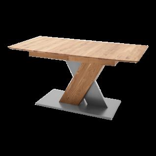 MCA furniture Esstisch Cuba in wählbarer Ausführung mit einer natürlichen Tischplatte mit durchgehenden Lamellen und Bodenplatte aus MDF