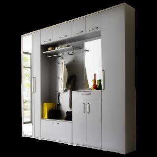 Wittenbreder Roubaix Vorschlagskombination Nr. 02 komplette Garderobe für Ihren Flur und Eingangsbereich 8-teiliges Garderoben-Set im Dekor Grau matt