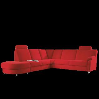 Zehdenick Wohnlandschaft Toulouse 2, 5-Sitzer, Rundecke, 2-Sitzer ohne Armlehnen und Anstellhocker inklusive 2 Kopfstützen Rücken echt bezogen Ausführung wählbar