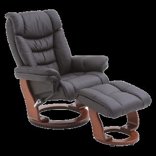 MCA furniture Toronto Relaxsessel inkl. Hocker Bezug schwarz Gestell wallnussfarben Rückenlehne verstellbar Sessel 360 Grad drehbar