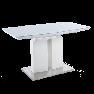 MCA furniture Esstisch Najuma Säulentisch weiß Tischplatte in bootsform mit Synchronauszug und Klappeinlage