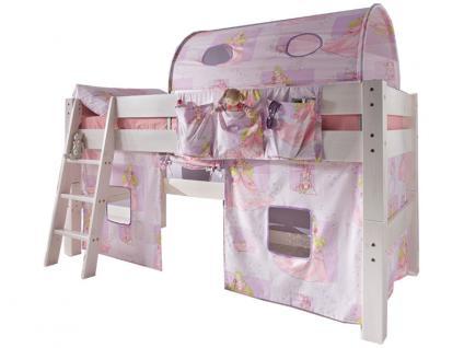 Infantil TOBYKIDS massives Halbhochbett inklusive Rollrost Liegefläche 90 x 200 cm in Kiefer massiv weiss mit Vorhang-Set und Tunnel im Design Prinzessin